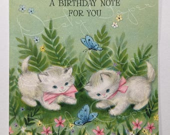 Birthday - Unused Vintage 1950s Hallmark Card with Kittens and Butterflies