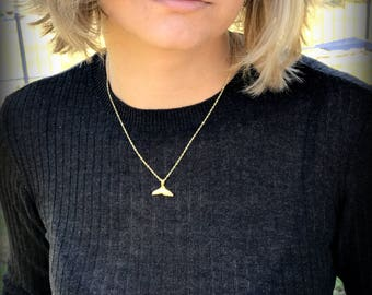 Whale tale necklace GOLD Filled 14K Pendant, whale tale necklace, gold filled necklace minimalist necklace nautical necklace