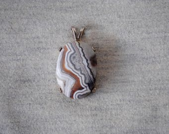 Crazy Lace Agate Pendant set in Sterling Silver