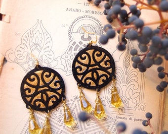 dangle round earrings BIZANTINA, ethnic paper earrings with crystals, Mandala shape earrings, hand carved paper dangle