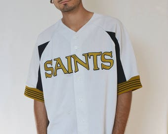SAINTS BASEBALL JERSEY -tshirt, golden, white, black, sportswear, vaporwave, hip hop, aesthetic, embroidery, short sleeve, 90s, cyber-