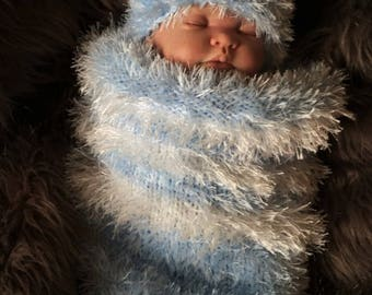 Chunky Hand Knitted Baby Cocoon Sleeping Bag Papoose & Hat Blue Bear Photo Photography Prop 3-6 Months Boy