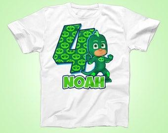 Gekko Birthday Shirt, PJ Masks Birthday shirt, Super Hero Birthday Shirt, Party Shirt