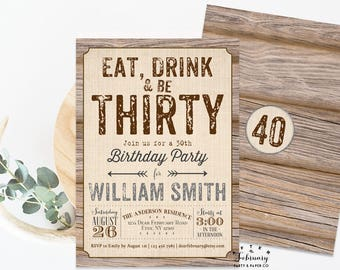 ANY AGE // Adult Birthday Invitation Rustic Birthday Invitation for Men Man Birthday Party Invitation Digital Printable No.14BDAY