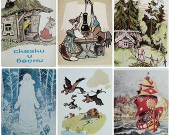 Fairy tales and Fables - Artists V. Konashevich, E. Rachev, B. Dekhterev, T. Mavrina et al. - Set of 9 Vintage Soviet Postcards, 1977. Print