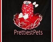 Valentine's Day Dog Dress Hearts and Paws Holiday Dog Dress Dog Tutu Cat Dress Cat Tutu Dog Bow Prettiest Pets