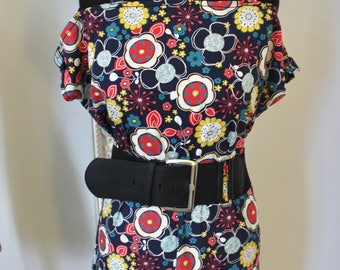 SALE!!!! Ladies Handmade, 60's / 70's mod geo inspired vintage style flower hippy dress (UK Size 12 )
