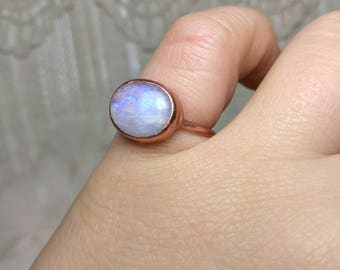 Rainbow Moonstone Ring Size 4.5