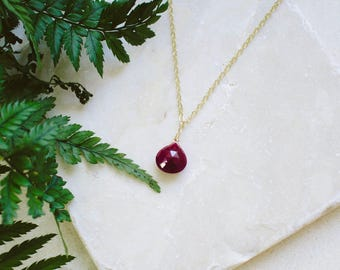 Tiny Ruby Necklace - Small Ruby Faceted Teardrop Necklace - Natural Pink Red Gemstone Necklace - July Birthstone Necklace
