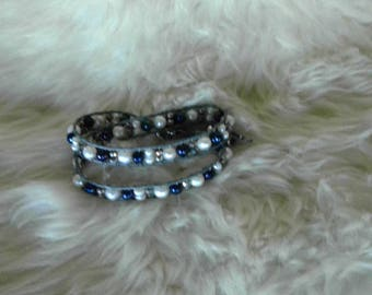Double wrap bracelet with pearls and crystals
