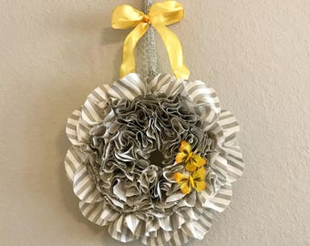 Beautiful Gray Wreath with Bow/Butterfly Color Options