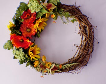 Door Wreath, Front Door Wreath, Sunflower Wreath, Poppy Wreath, Year Round Wreath, Mothers Day, Ready to Ship