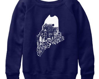 Maine State Hand Drawn design Women's slouchy sweatshirts All sizes available in 2 colors