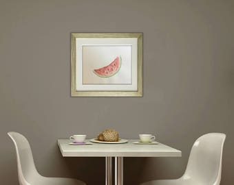 Watermelon Painting. Watercolour Painting of Watermelon. Slice of watermelon. Fruit Painting. Picture of Watermelon. Painting for Kitchen.