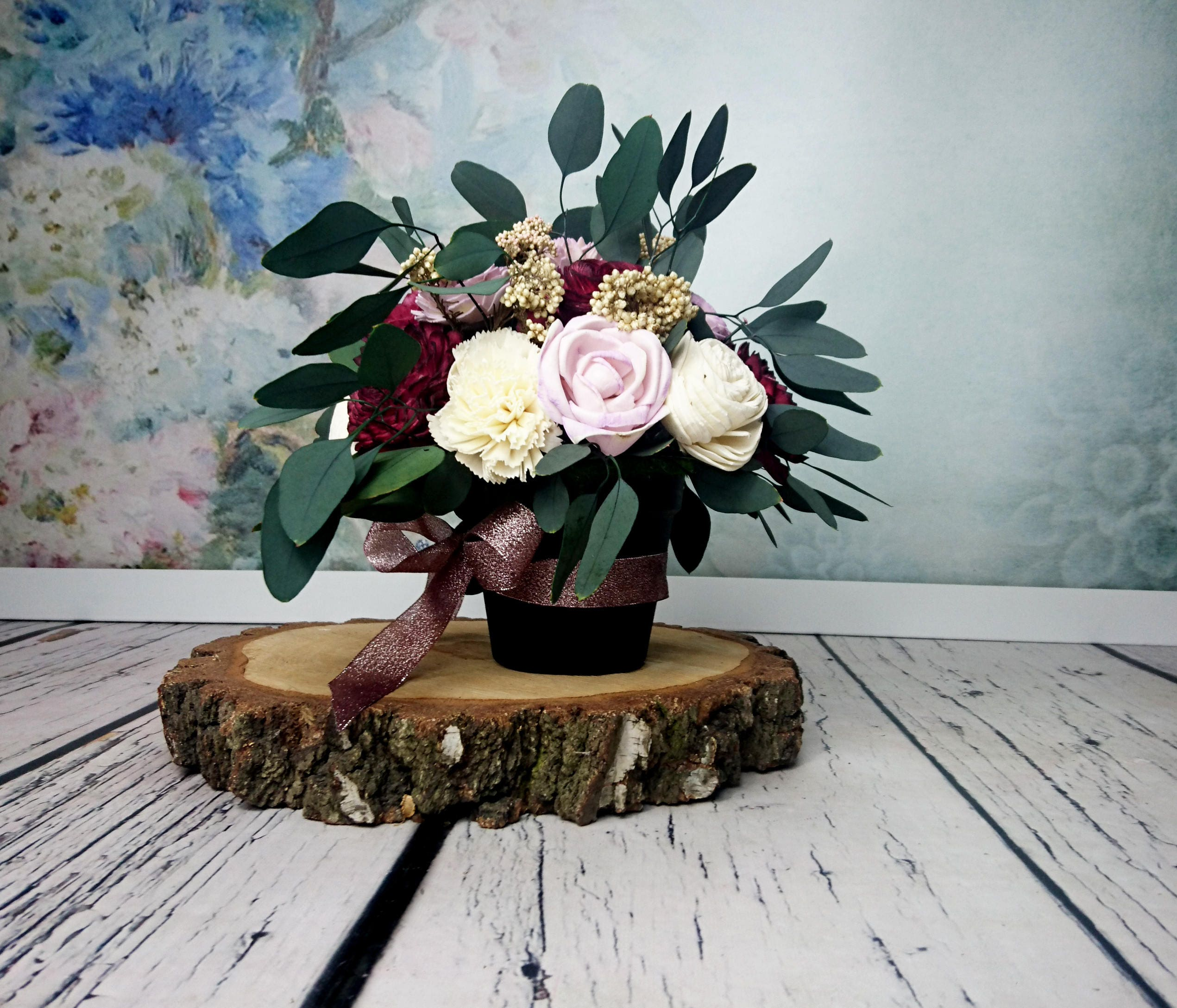Wedding Altar Flowers With Eucalyptus: Wedding Floral Arrangement Table Centerpiece Sola Flowers