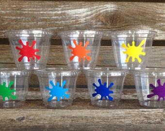 Paint Party Cups - Art Party, Rainbow Party, Paint Splatter