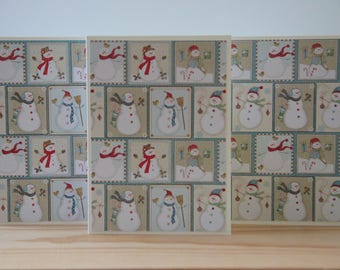 12 Snowman Note Cards. Snowman Christmas Cards.  Winter Card Set.  Snowman Thank You Cards.  Snowman Gift.  Snowman Party