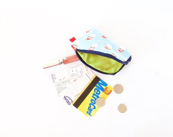 Cool Santa &Hipster Reindeer Coin Pouch.Small Keychain Wallet.Christmas Pouch.Hipster Keychain Xmas Pouch.Cute Stocking Stuffer.Secret Santa