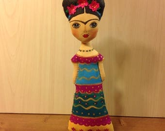 Frida doll Frida Kahlo art doll Frida mexican art doll mexican painter Frida Kahlo doll mexican artist Frida folk art Frida ornament doll