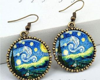 Starry Night Earrings, Van Gogh Earrings,  Impressionist Earrings, Famous Paintings, Famous Artist, Van Gogh Gift for Women