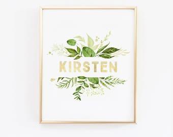 Greenery Nursery Name Wall Art - greenery wreath - Green Nursery - Leaf Print - Leaf home decor - Wall Print - Green and Gold