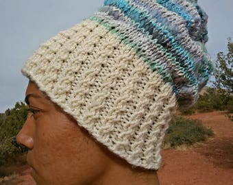 Hand Knit Soft Slouchy Mermaid-colored Hat