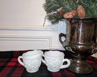 Cut Milk Glass Sugar Bowl and Creamer