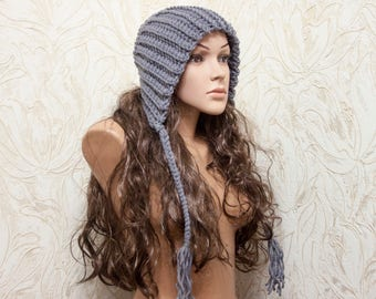 Womens Hat - Hood with Ties - Charcoal Grey Hat Grey Earflap Hat Grey Slouchy Beanie - Knit Accessories - Choose Color