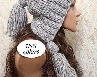 Womens Hat - Hood with Fringe - fringe hat- Ear flap Hat Gray Slouchy Beanie - Knit Accessories