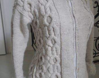 Wool jacket fur collar and cuffs