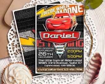 Disney Cars 3 Invitation, Cars Invitations, Cars Birthday Party Printables, Cars Race Invites, Cars birthday invitation, Lightning McQueen