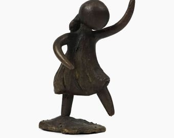Bronze Sculpture Walking Girl Mid Century MCM MOD Modern Decor
