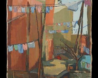 1967 Conoki Oil Painting Mid Century Modern MCM MOD Decor City Scene Backyard