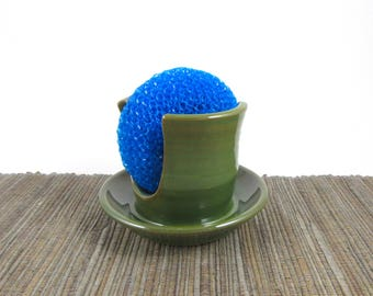 Sponge Holder, Handmade Pottery Sponge Dish, Soap Holder, Kitchen Sink Dish, Unique Bright Rich Green Pottery Dish, Ceramics, Ready to Ship