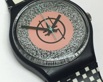 RESERVED for Dale  Vintage Swatch Watch Mackintosh GB116 1987 Pink Black White Checkered