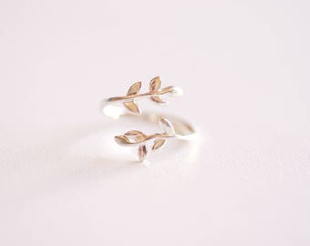 Sterling Silver Leaf  Branch Ring, Gold Leaf Ring, Rose Gold Leaf Ring. Layering Ring, Vine Ring, Laurel Ring, Nature Jewelry, twig ring