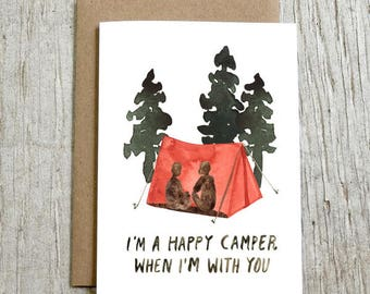 Happy Camper Greeting Card, Love Card, Adventure, Watercolor Note Card by Little Truths Studio