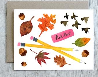 Autumn Notecard, Fall, Back to School, Teacher Watercolor Card by Little Truths Studio