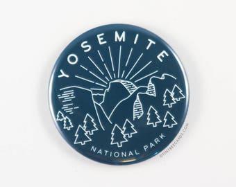 Yosemite National Park Magnet, Pin, or Pocket Mirror - national parks pin, yosemite badge, outdoorsy gifts, nature gifts, half dome pin