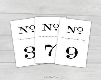 PDF Printable Wedding Table Numbers Signs   Numbers 1-50   4x6   Old Fashioned Black Numbers   Vintage   Literary Wedding   Stamped Antique