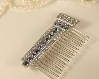Rhinestone Hair Comb Crystal Jewel Comb Bridal Comb Antique Comb 1930s Vintage Comb Mystic Topaz Bridal Fascinator Rainbow Headpiece Gift