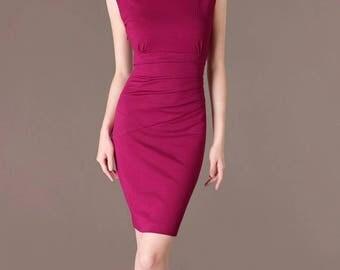 Custom made bridesmaid dress elegant sheath formal dress rose pink dress plus size dress tailor shop CA20