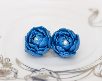 Blue and Gold Peony flower/ Floral earring/ Polymer clay flower/ Handmade polymer clay earrings/ Handmade polymer clay peony/Gift idea