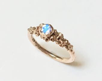 INANNA Rose Gold Moonstone Engagement Ring