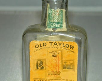 c.1913 Pre Prohibition Old Taylor Whiskey Mini Bottle w/ Tax Stamp