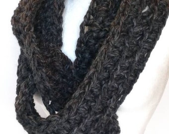 Scarf, charcoal chunky Crochet infinity scarves, neck warmer, Fall Winter Accessories
