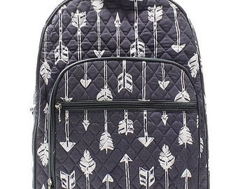 Arrow Print Large Quilted Backpack Great for Back to School or Diaper Bag Gray and White