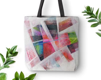 Abstract tote bag, Boho bag abstract art, Large canvas tote bag, Market tote, 18x18 tote, 16x16 tote, Shoulder bags, red gift for her. MS041