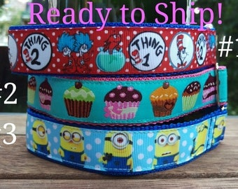 """READY TO SHIP! Tag/House Collars - 1"""" - Whippet 10-15""""- Cat in the Hat, Cupcakes, Minions"""