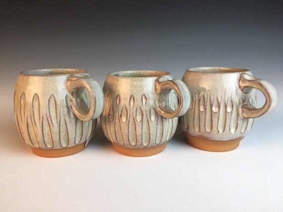 set of Four Hand-carved contemporary-classic pottery mug,